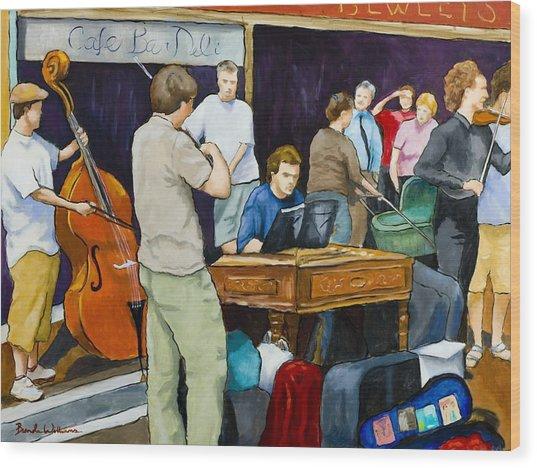 Street Musicians In Dublin Wood Print by Brenda Williams