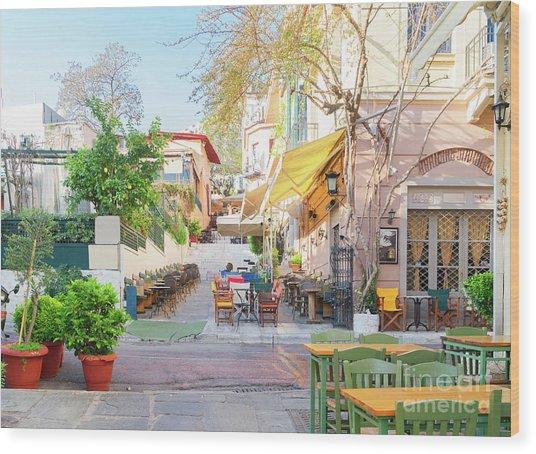 Street Of Athens, Greece Wood Print