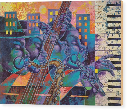 Street Songs Wood Print by Larry Poncho Brown