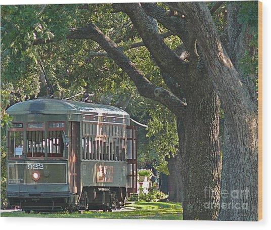 Streetcar Under The Oak Trees Wood Print