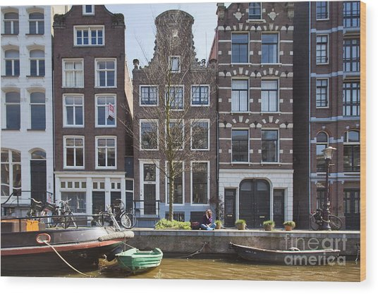 Streets And Channels Of Amsterdam Wood Print by Andre Goncalves