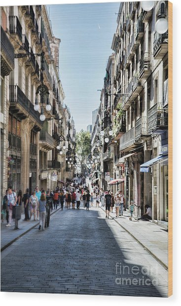 Streets Of La Rambia Barcelona  Wood Print