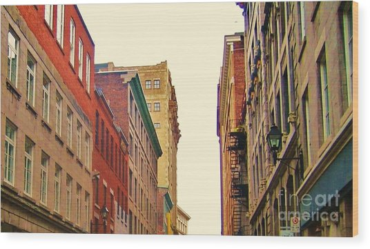 Streets Of Montreal Wood Print by Reb Frost