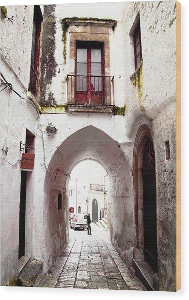Streets Of Ostuni Wood Print