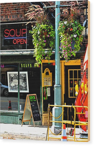 Streetscape 1 Soup Wood Print by Gary Everson