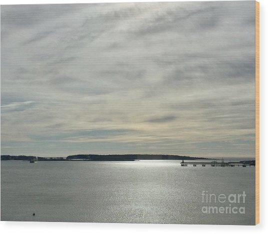 Striated Sky Over Casco Bay Wood Print