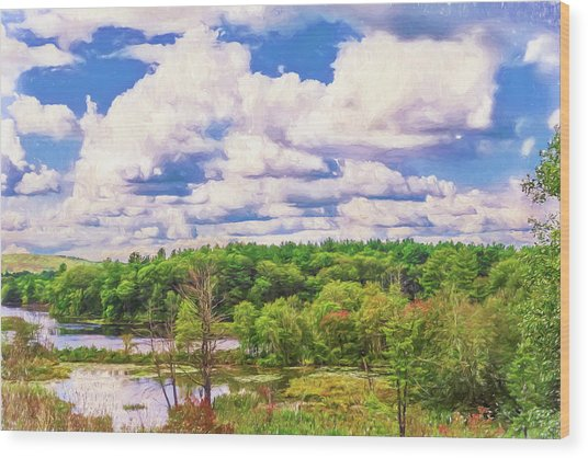 Striking Clouds Above Small Water Inlet And Green Trees Wood Print