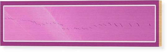 String Of Birds In Purple Wood Print