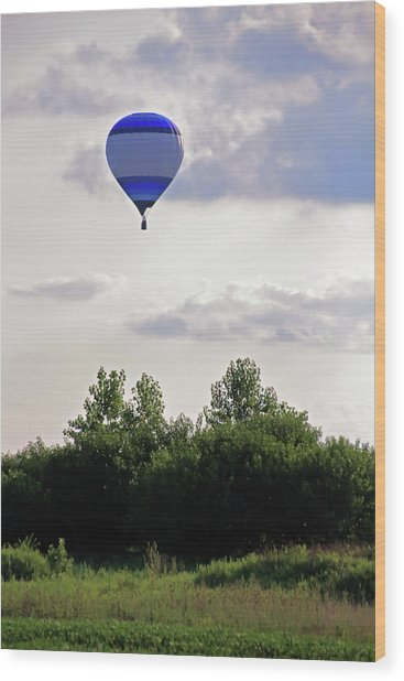 Wood Print featuring the photograph Striped Balloon by Angela Murdock