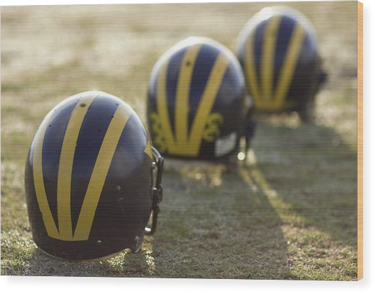 Striped Helmets On A Yard Line Wood Print