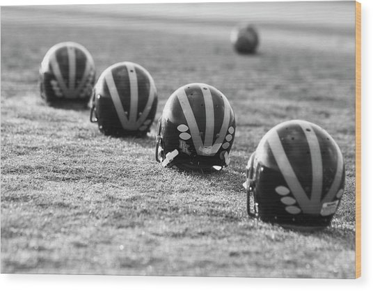 Striped Helmets On The Field Wood Print