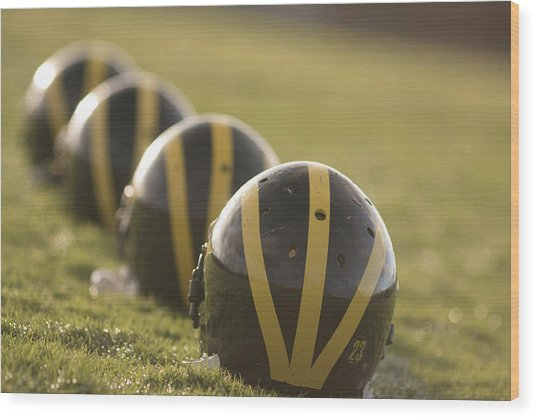 Striped Helmets On Yard Line Wood Print