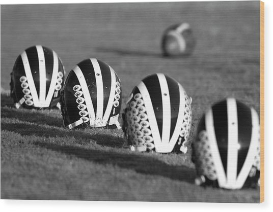 Striped Helmets With Football Wood Print