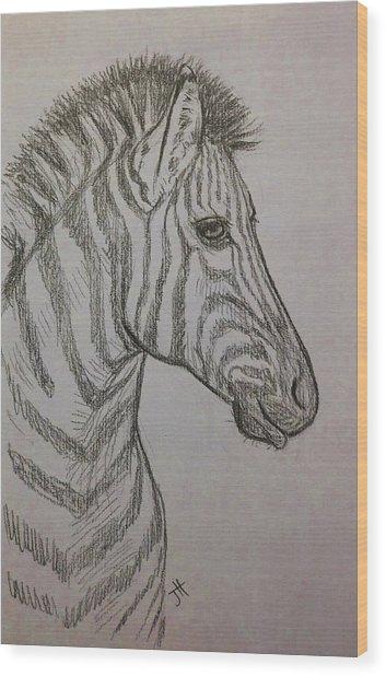 Wood Print featuring the drawing Striped Stud by Jennifer Hotai