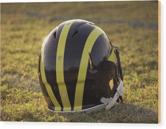 Striped Wolverine Helmet On The Field At Dawn Wood Print
