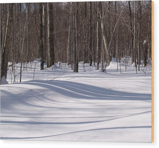 Stripes Shadows Snow Wood Print by Pradeep Bangalore