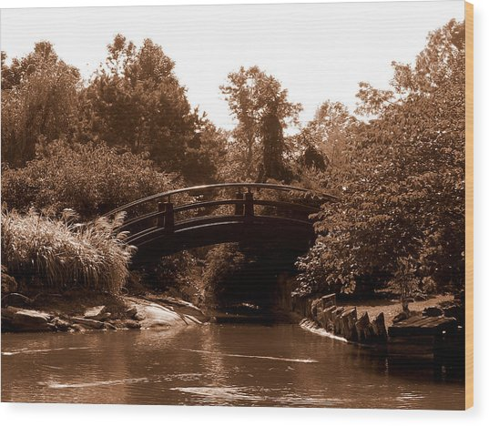 Stroll Garden Bridge Wood Print by Audrey Venute