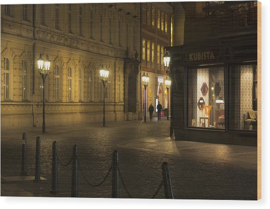 Stroll In Prague's Evening Wood Print by Marek Boguszak