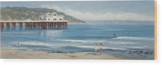 Strolling At The Malibu Pier Wood Print by Tina Obrien