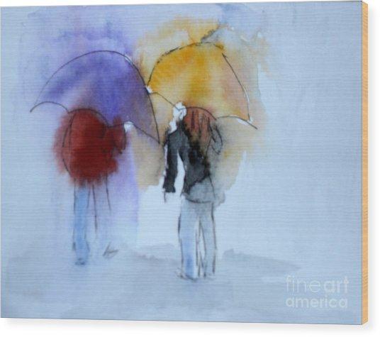 Strolling In The Rain Wood Print