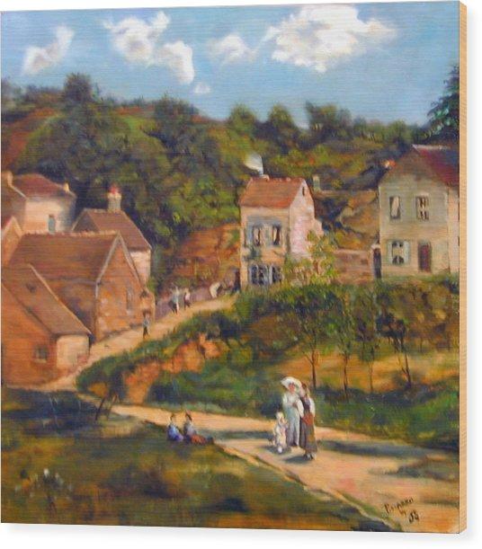 Strolling On The Lane Wood Print