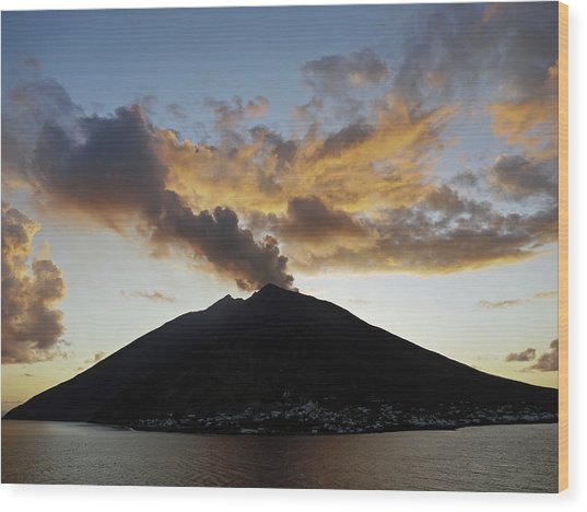 Stromboli - Lighthouse Of The Mediterranean Wood Print