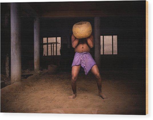 Strong Man Head Wood Print
