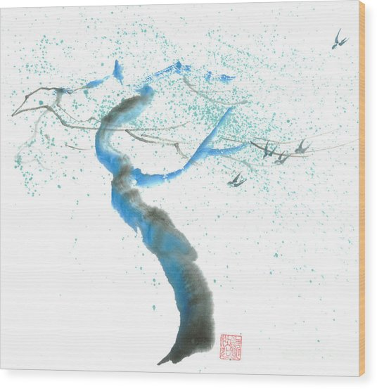 Strong Wind Wood Print by Mui-Joo Wee