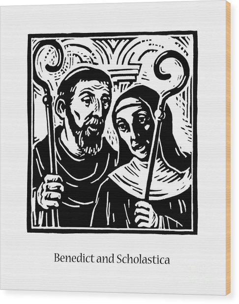 Sts. Benedict And Scholastica - Jlbas Wood Print