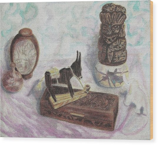 Stubborn Mule Wood Print by Suzanne  Marie Leclair