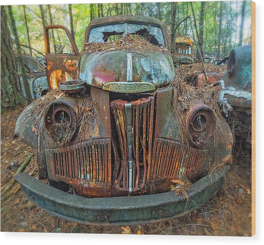 Studebaker With Broken Glass Wood Print