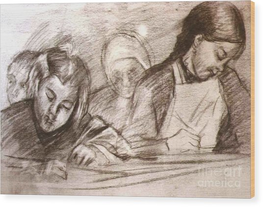 Students Of The Old Time Wood Print by George Siaba