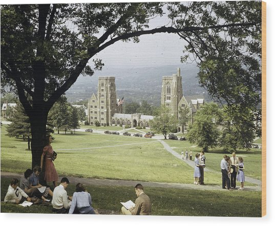 Students Sit On A Hill Overlooking Wood Print