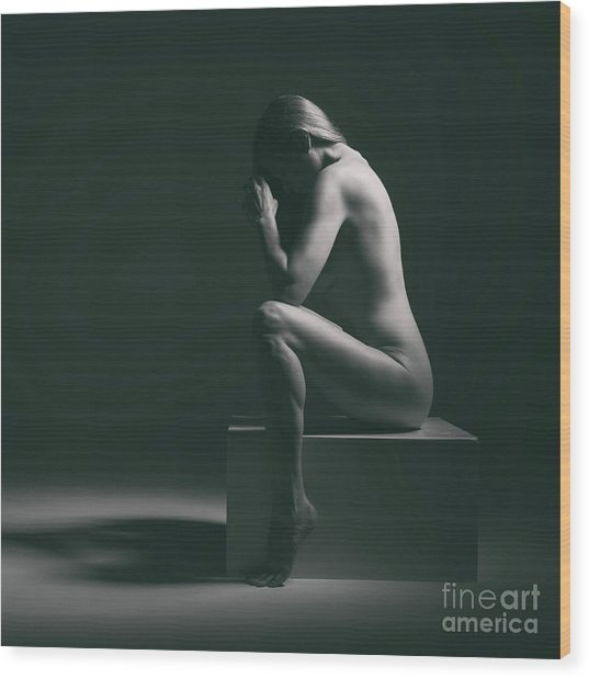 Studio Nude Seated Wood Print