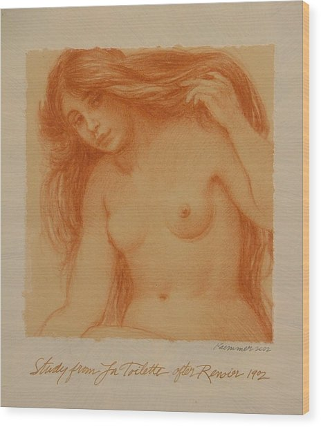 Study From La Toilette After Renoir Wood Print by Gary Kaemmer