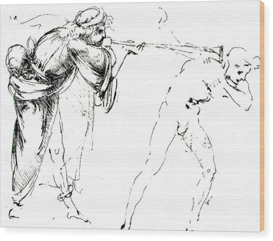 Study Of A Man Blowing A Trumpet In Another's Ear Wood Print