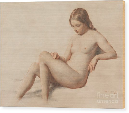 Study Of A Nude Wood Print
