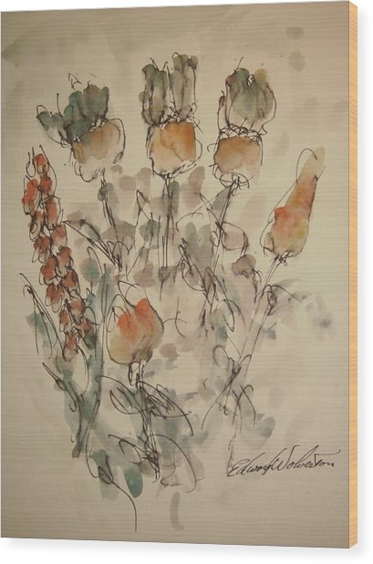 Study Of Flowers V Wood Print by Edward Wolverton
