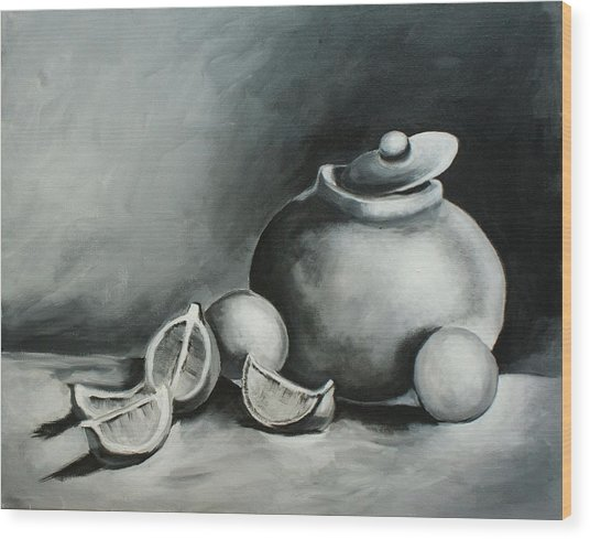 Study Of Lemons, Oranges And Covered Jug In Black And White Wood Print