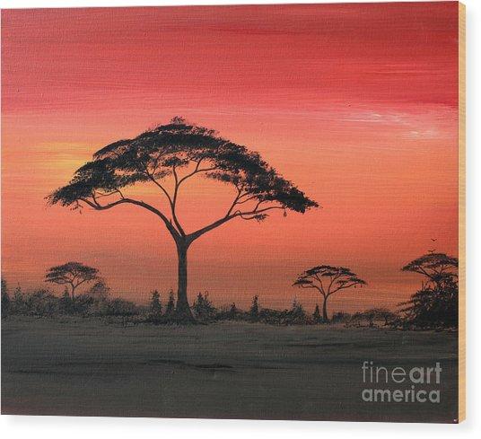 Study Of Sunset 6 Wood Print by Abu Artist