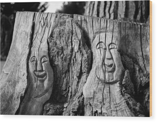 Stump Faces 2 Wood Print