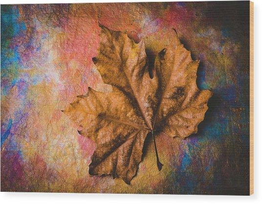 Stunning Old Leaf Wood Print