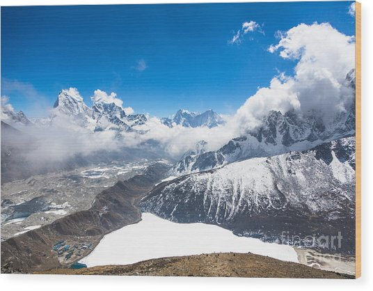 Stunning Panorama Over Gokyo In Nepal Wood Print