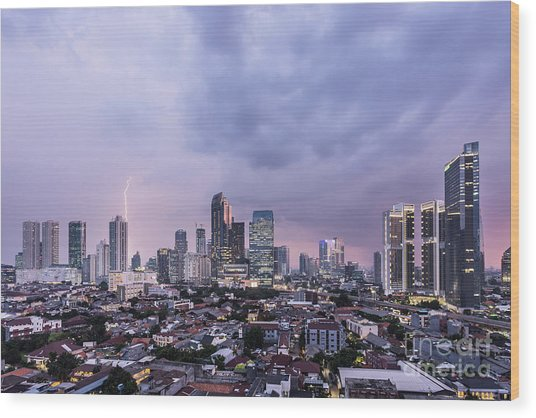 Stunning Sunset Over Jakarta, Indonesia Capital City Wood Print