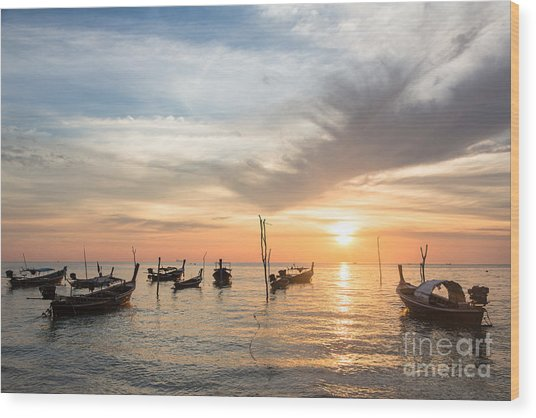 Stunning Sunset Over Wooden Boats In Koh Lanta In Thailand Wood Print
