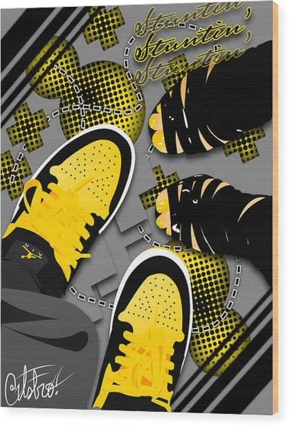 Stuntin Bumble Bees Wood Print by Devin Green