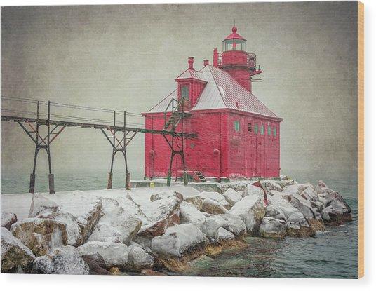 Sturgeon Bay Pierhead Lighthouse Storm Wood Print