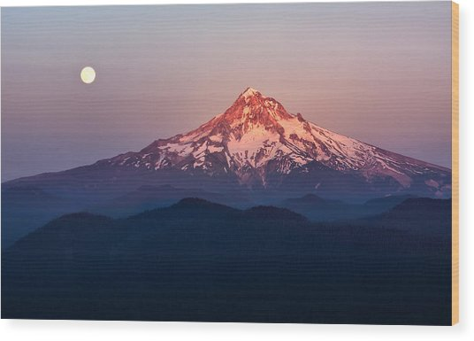 Sturgeon Moon Over Mount Hood Wood Print