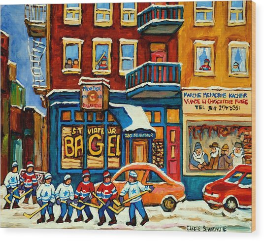 St.viateur Bagel Hockey Montreal Wood Print