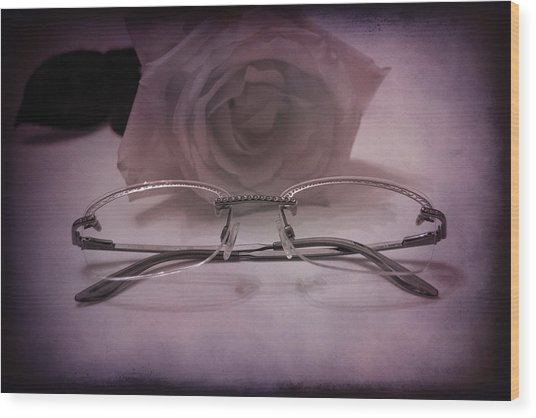 Stylish Specs Wood Print by Rozalia Toth